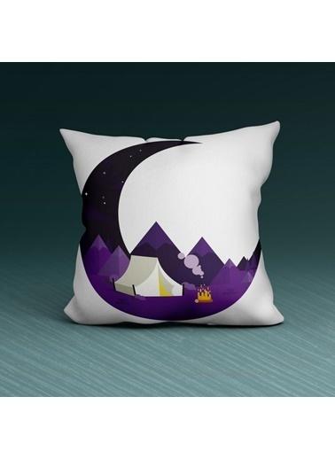 Artikel Gece ve Ay Desenli Dekoratif Çift Taraflı Yastık Kırlent Kılıfı 45x45 cm Renkli